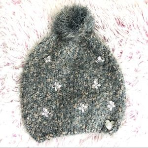 NWOT Betsey Johnson Grey/Rose Gold Pom Pom Beanie